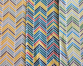 Fabric freedom retro road trip herringbone pattern in yellow, multi or green by the half metre
