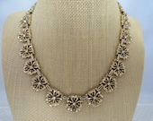 Vintage, Crown Trifari, Floral Necklace, with Clear Rhinestone Accents.
