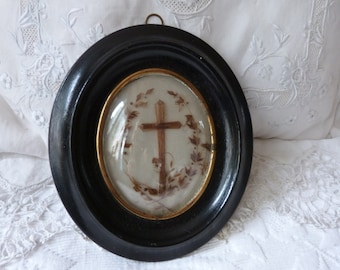 Mourning hair art frame Victorian hair memento mori Antique French handmade relic wooden frame blown glass, human hair w cross crucifix