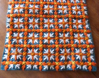 Vintage French hand made table runner LONG handmade orange w blue French table linens arts and crafts, table decor, table cloth, table doily