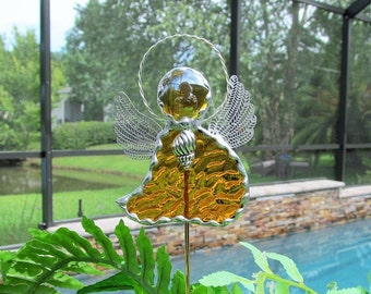 Stained Glass Amber English Muffle Art Glass - Stained Glass Angel Garden/Memorial Marker with Tibetan Silver Shell Charm