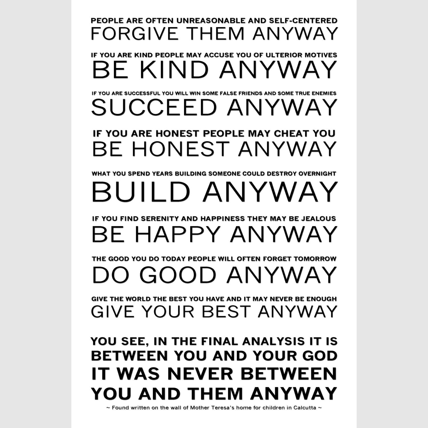 Mother Teresa's Do it Anyway Poem Ready to Hang Canvas