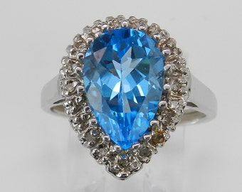 Diamond and Pear Blue Topaz Halo Right Hand White Gold Statement Ring Size 7
