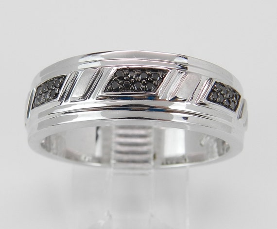 Mens White Gold Black Diamond Wedding Band Anniversary Ring Size 10.5
