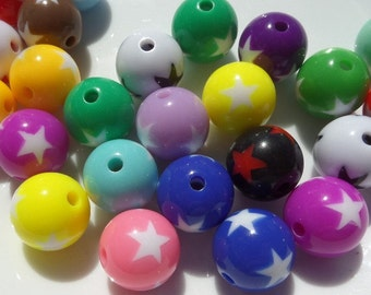 12mm Chunky Star Bubblegum Beads, Mixed Color ONLY, 20CT. A30