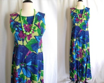 Vintage 1960s Hawaiian Maxi Dress Island Casuals Water Color Floral Full Length Gown Small - Medium