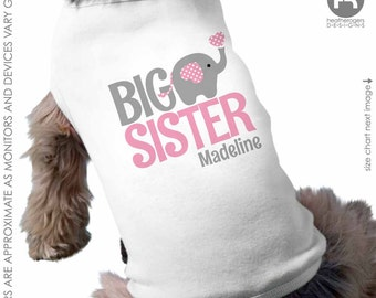 Dog Big Sister Shirt (pink/gray design) - Personalized Dog Sister Shirt - Elephant Dog Shirt - Pregnancy Announcement Shirt
