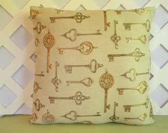 Golden Keys Pillow Cover, Skeleton Keys Pillow Cover/ Beige Pillow/ Beige, Gold Pillow/ Decorative Pillow/ Accent Pillow