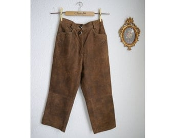 Original Lederhosen Ladies German Extra Small Trachten Country Folk Leather Suede Knickerbocker High Waist Brown Oktoberfest Embroidered