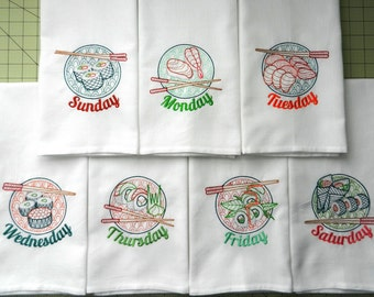 Sushi DOW - Ready to Ship - Set of 7 Vintage-Style Days-of-the-Week Embroidered Tea Towels - Sushi