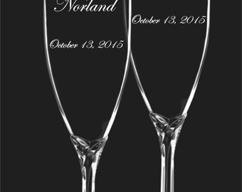 Wedding Toasting Flutes - Font Choices  - Fancy Stems - Mr and Mrs Charms