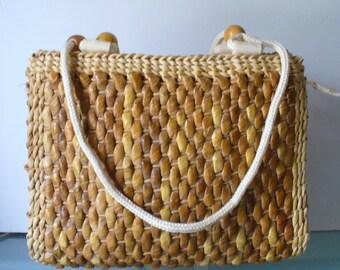 Vintage Straw  Tote Bag