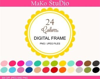 circle Digital frames, flowers frames clip art, 24 digital frame clip art, Personal or Commercial Use