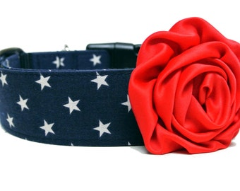 "Dog Collar Flower Add-on Red Rose Dog Flower FOR 1"" BUCKLE COLLAR"