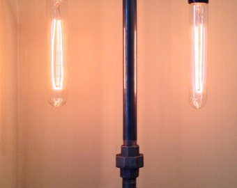 Industrial Iron Pipe Lamp, Dual Socket and Faucet On/Off Switch, Table Lamp, Desk Lamp, Steampunk, Home Decor, Lamps, Rustic, Gifts For Him