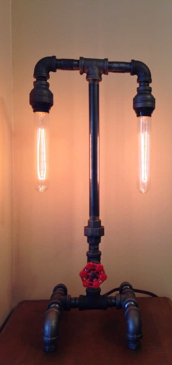 Industrial iron pipe lamp dual socket and faucet on off for Industrial pipe light socket