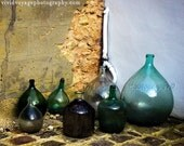 Bottle Photo, French Still Life, Antique Demijohn Photograph, Country French, Wine Lovers, Kitchen Wall Art, Taupe, Blue Green Home Decor
