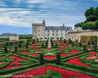 France Photograph, Garden Art, Landscape Photo, Red Home Decor, Love Art Print, Red and Green, Castle Photograph, Wall Art, Red Art Print