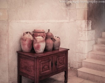 Terracotta Pots Photo, Still Life, Kitchen Art, Rustic Photograph, Brown and Cream, Old World Kitchen, Wall Art, Stair Photo, Home Decor