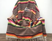 Mexican Saltillo Serape Blanket, Grey Vintage Bedding / Home Decor