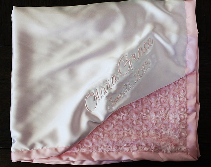 Minky Blanket, Satin and Minky, Blanket with name, Embroidered blanket, Monogrammed blanket, White and Pink, Sweet blanket, baby Girl