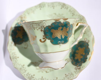 NBS bone china trio - cup, saucer and plate, gold leaf