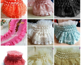 Ruffle pleated elastic lace 2 1/2 inch wide selling by the yard-select color