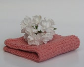 Hand knitted dish cloth - wash cloth - soft cotton light coral