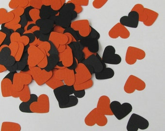 CLEARANCE - Confetti hearts 200 pcs - cardstock Halloween party scrapbook crafts black orange