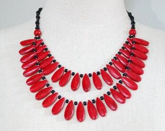 Superb Statement Handmade Layered Teardrop Red Coral Black Onyx Handmade Necklace