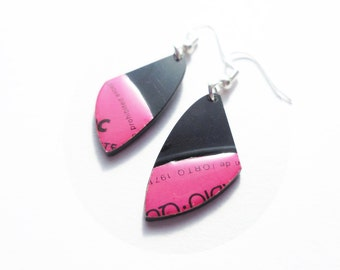 eco fashion pink earrings vinyl record earrings funky earrings unique gift for her recycled jewellery small earrings handmade jewelry