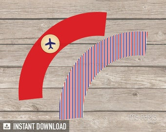 Travel Party / Farewell Party - Cupcake Wrappers - Red and Blue Stripes - INSTANT DOWNLOAD - Printable PDF