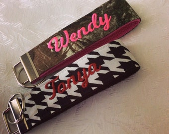 Alabama Houndstooth plaid or Mossy Oak Camo with Pink Key Chain Wristlet; Monogram, Personalized, Monogrammed, Embroidered, Bridesmaid,
