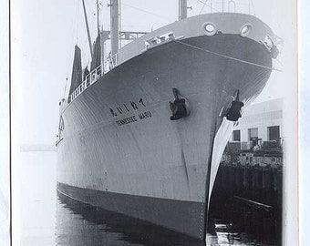 LONG BEACH Ca harbor Huge Boat called Maru Asian writing on side Vintage PHOTO