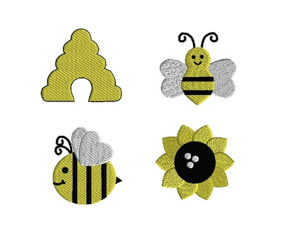 Mini busy bee machine embroidery designs instant download