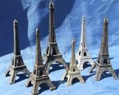 Collection 6 Vintage French Eiffel Tower Paris Landmark in Metal