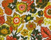vintage earthtone floral cotton fabric 2 yards 16 inches medium weight 45 inches wide mod flowers