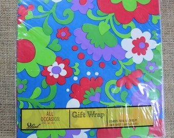 Vintage All Occasion Gift Wrap, Floral Gift Wrap, 1970's Floral Gift Wrap, In Original Package, Laurel Gift Wrap, # 603
