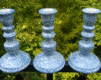 Three Beautiful Vintage N. S. Gustin Co. Hand Decorated Blue Sponge Candle Holder