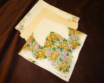 Handkerchiefs Vintage Lot of 3 Ladies Hankies