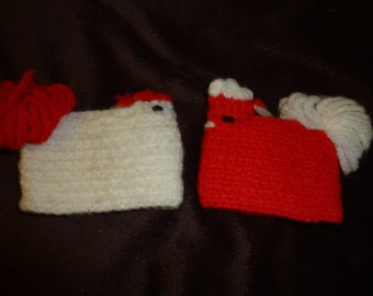 Chicken Egg Cozy Vintage Lot of 2 Egg Cover Cozies