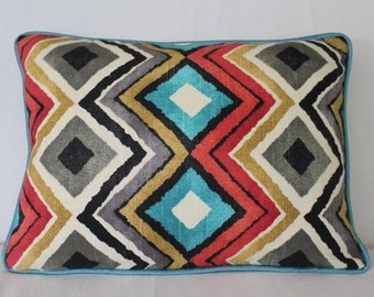 Bright multi-colored lumbar pillow cover