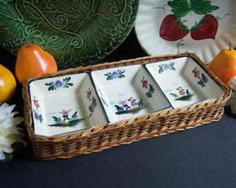 Ceramic Serving Set with Wicker Basket - Vintage Serving Dishes - Ceramic Snack Bowls - Vintage Snack Set - Nut Bowls - Serving Dishes