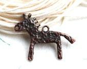 Horse Pendant bead, Copper horse charm, Native, Greek bead, metal horse pendant, primitive, 30mm - 1pc- F219