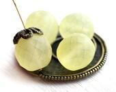 14mm Matte Yellow Czech Glass round beads, fire polished, large - 4Pc - 0402
