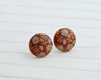 Red and Gold Flower Earrings .. red floral earrings, small earrings, tensha, red earrings, small red studs, red post earrings