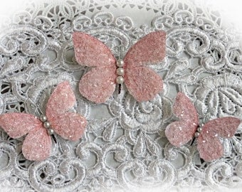 Butterfly Set - Sweet Pea Glitter Glass Butterflies, Scrapbook Embellishment, Wedding, Party, and Home Decor