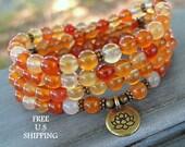 108 mala beads, Carnelian, Mala Bracelet or Necklace, Reiki, Buddhist Rosary,Prayer beads, Gemstone, wrist mala, Lotus, buddha, ohm, om