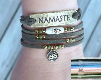 Namaste Faux leather wrap, Lotus, Om, with bronze wrap, Boho, chic wrap, Yoga wrap, Yoga bracelet, Reiki, lotus bracelet, om bracelet