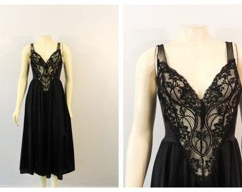 Vintage Nightgown Olga RARE Black Lace Bodice Satin Skirt Chiffon Back Nylon Gown  Modern sz M - L: